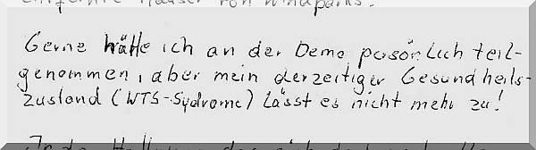 Auszug aus einem Brief zur Großdemo in Berlin