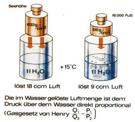 Abb. 5.7: Zur Lösung von Gasen aus Flüssigkeiten nach HENRY
